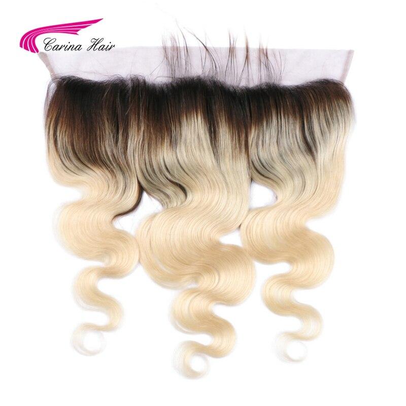 Carina Hair Brazilian Remy Menneskehår Ombre 1b / 613 Blonde 13 * 4 Blonde Frontal Closure Øre til Øre Body Wave Swiss Blonde Baby Hair