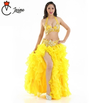 for oriental dance Dance wear Flower Outfit Egyptian Belly Dance Costume Set B/C Cup 3 pcs/set Bra Skirt belt