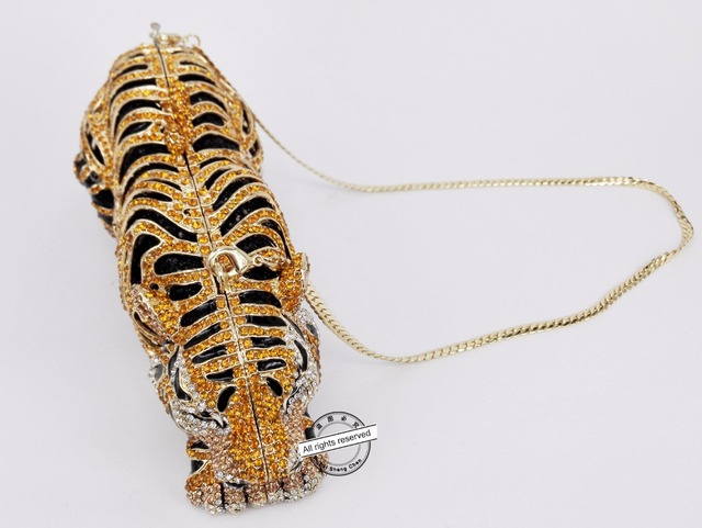 Stylish Tiger Diamond, Gold, Luxury Diamante Crystal Clutch Bag