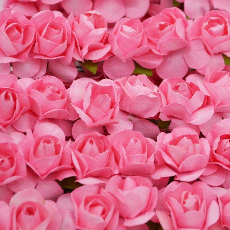 36 sztuk 1cm Mini sztuczna papierowa róża kwiaty do dekoracji ślubnych DIY wieniec prezent Scrapbooking, rzemiosło sztuczne kwiaty