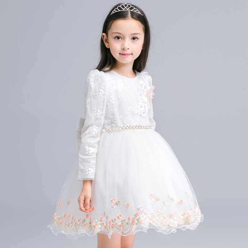 New Autumn Girls Flower Dress Long Sleeve With Bow Belt Princess Children Bridemaid Dress Wedding 4-10 Years Party Prom Cloth formal wedding party girl dress pearl flower lace party dress with floral belt 12 years princess vestido cloth half sleeve