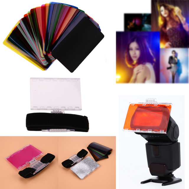 30pcslot colorful flash diffuser lighting gel pop up filter 30pcslot colorful flash diffuser lighting gel pop up filter camera flash filters for canon sciox Images