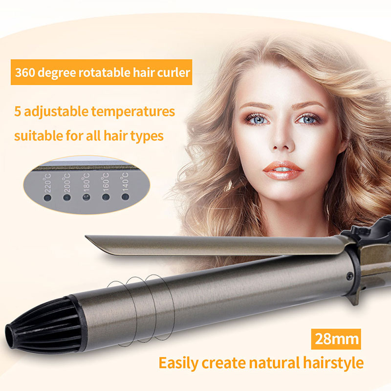 28mm Tourmaline Ceramic 60 degree rotatable Hair Curling Iron Hair curler Curling Wand Rotatable Clip beauty women fast heating pca 6008vg industrial motherboard 100% tested perfect quality