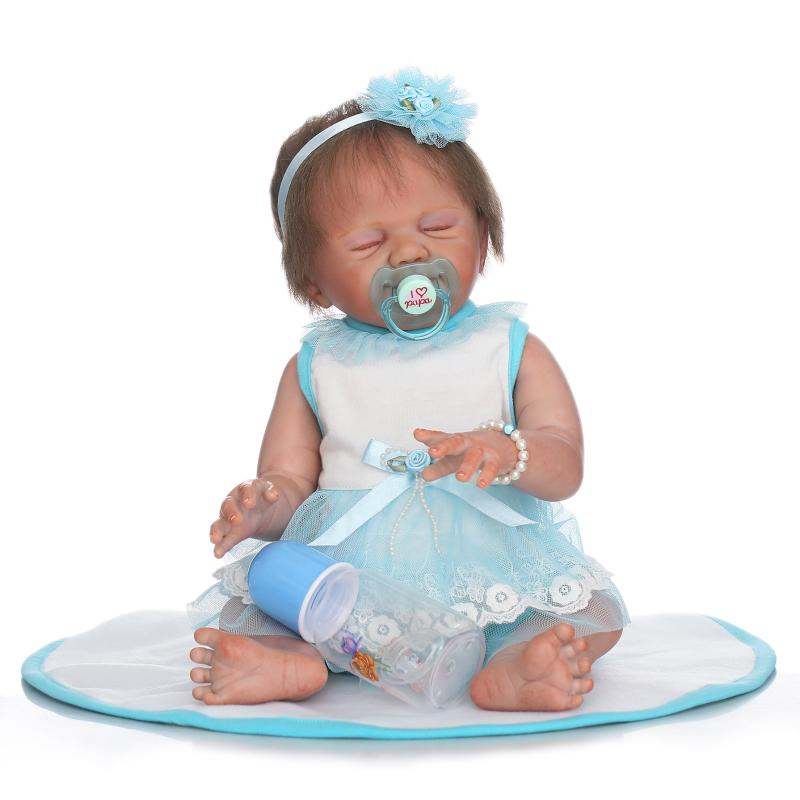 50cm New Painting Full Silicone Lifelike Newborn Baby Girl Silicone Reborn Baby Dolls Kids Fashion New Year Birthday Gifts newest silicone reborn doll 50cm 20 handsome baby reborn dolls lifelike baby newborn christmas birthday gift juguetes for kids