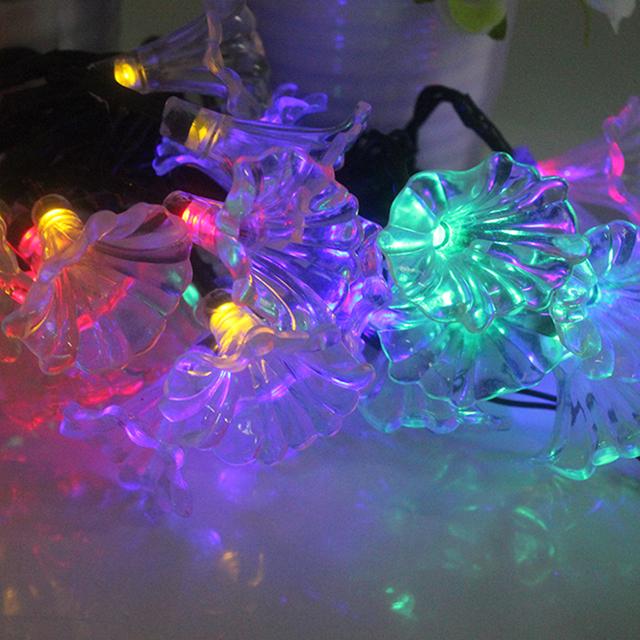 Morning Glory Jardín Solar Powered Luz de La Noche 30 LED de Colores de Luz de la Secuencia de Navidad Luces de Hadas de la Decoración Del Partido Globo # KF