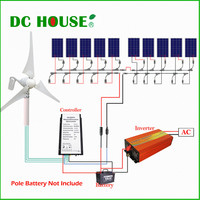 1400W Kit:400W Wind Turbine Generator&10*100W Solar Panel&1.5KW 24 110V Inverter