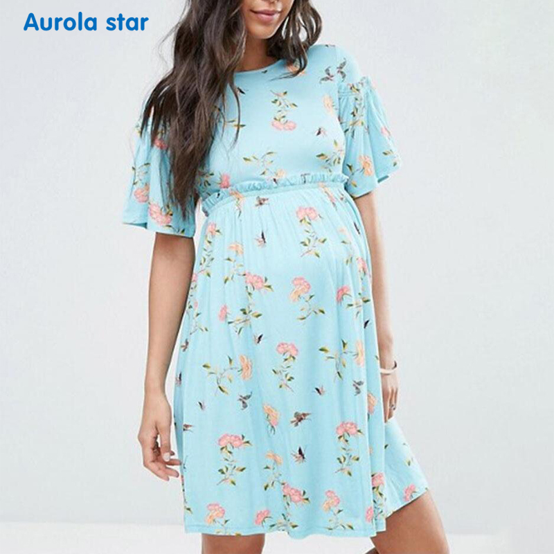New Maternity Dresses Casual Boat Neck Summer Pregnant Dress Elegant Short Sleeve Print Pregnancy Dress Plus Size Photograph vintage v neck short sleeve butterfly print chiffon dress for women