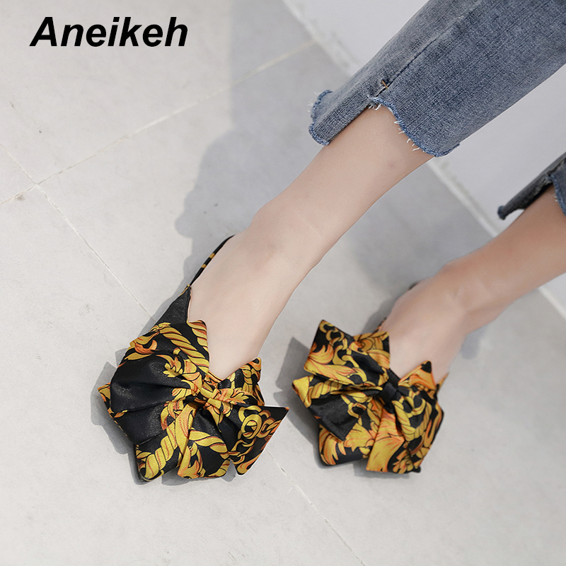 Aneikeh 2019 Summer New Baotou Bow Ladies Slipper Sweet Print Pointed Shallow Mouth Outside Wearing Flat Slippers Size 35-41Aneikeh 2019 Summer New Baotou Bow Ladies Slipper Sweet Print Pointed Shallow Mouth Outside Wearing Flat Slippers Size 35-41