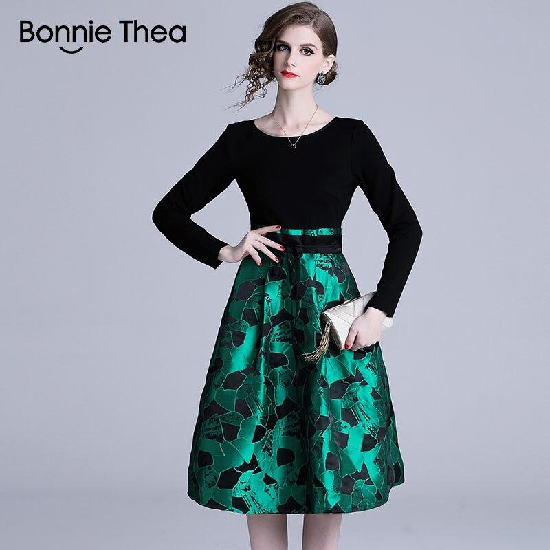 Bonnie Thea femmes vert Jacquard robe femmes automne élégant soirée robe florale dames Vintage courte robe 2018 vestidos