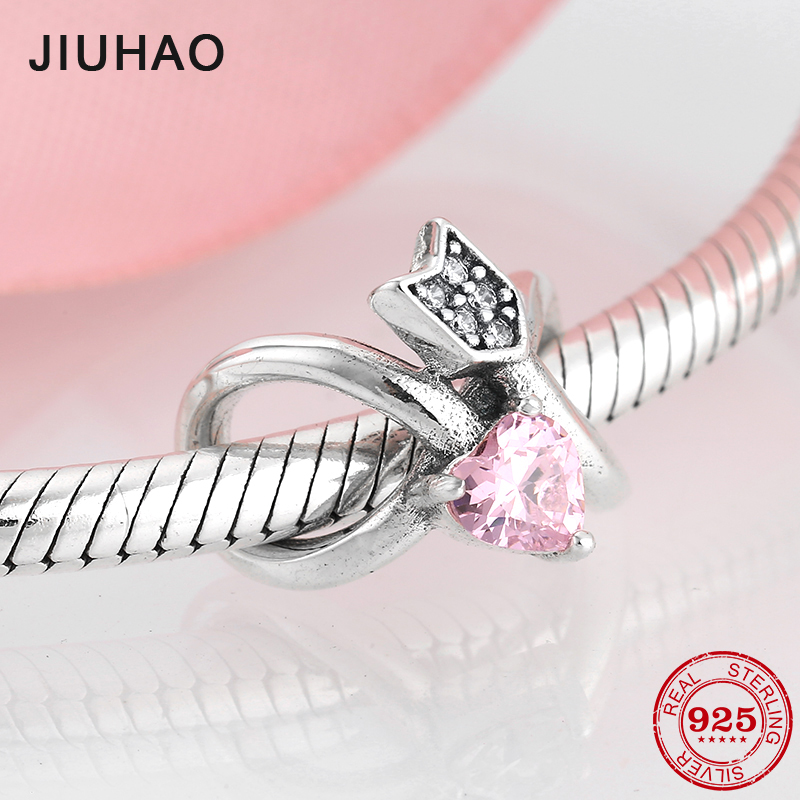 925 Sterling Silver Forever Lingering Love Pink Heart CZ Beads Fit Original Pandora Charms Bracelet Bangles DIY Jewelry Making