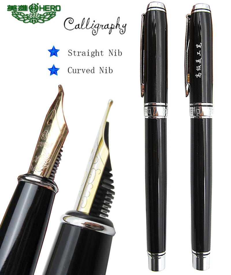 Fountain pen Curved Nib  or Straight Nib to choose HERO 6055  office and school Calligraphy art pens  FREE   SHIPPING black germany duke bent nib 0 8mm art fountain pen business gift calligraphy pens office and school supplies free shipping