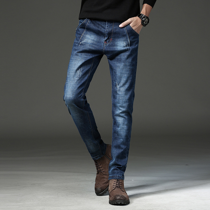 Manufacturers wholesale autumn new cotton mens lap, elastic feet, jeans, long trousers, youth brand 723