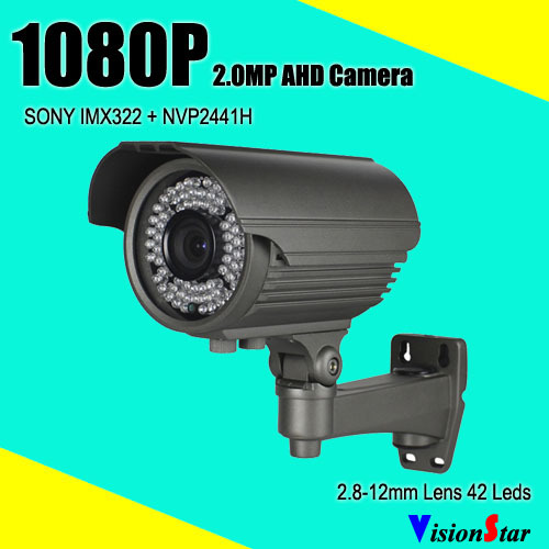 High definition osd menu sony imx322 ahd 1080p 2.0mp waterproof outdoor security cctv analog camera