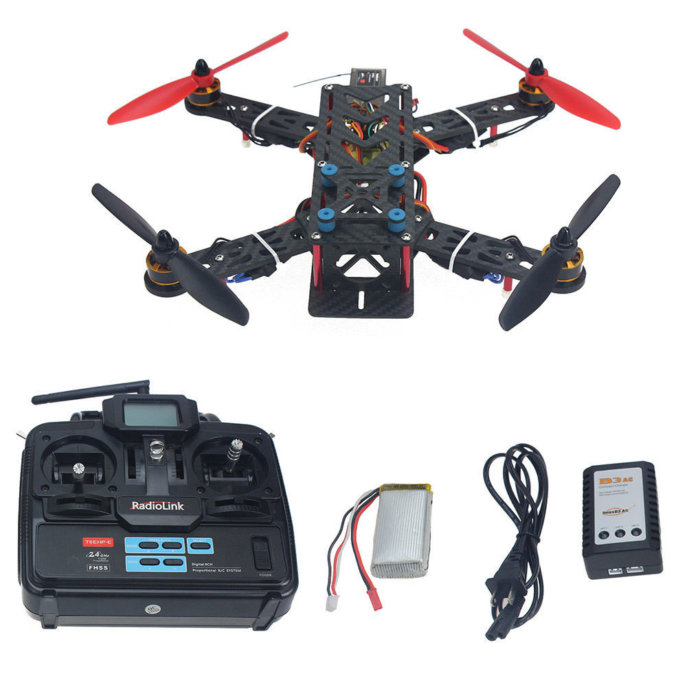 JMT Assembled Full Kit 250mm Q250 PRO Carbon Fiber RFT RC Drone Quadcopter Multirotor with Transmitter Battery F11858-M