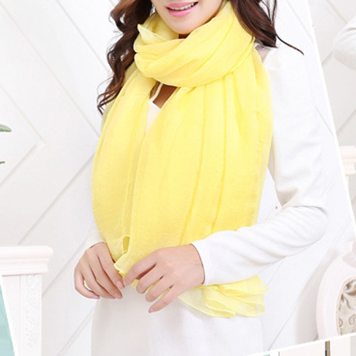 AASS Light Yellow Trendy Summer Care Solid Color Scarf Shawl For Women
