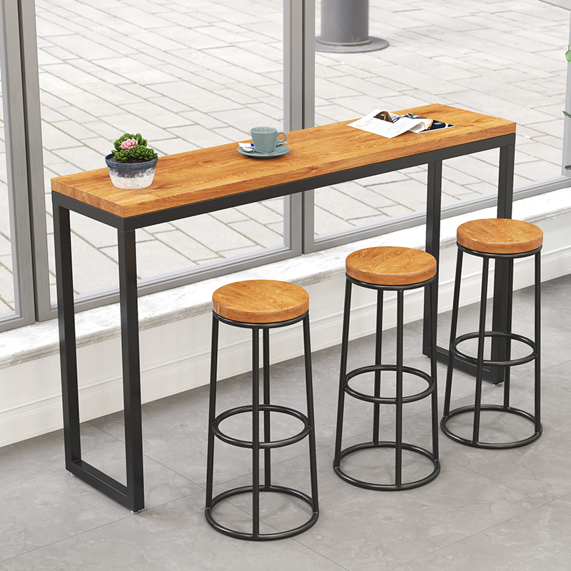 Modern Minimalist Bar Stool Solid Wood Home Bar Stool Creative Coffee Leisure High Stool Retro Wrought Iron High Chair To Assure Years Of Trouble-Free Service Furniture