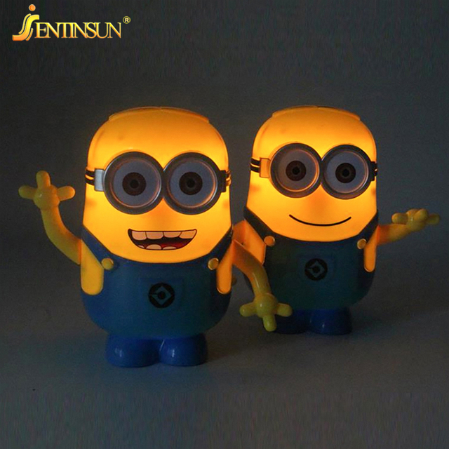3d cartoon minions led light fold table lamp piggy reading lights bedside desk lamps illuminator for