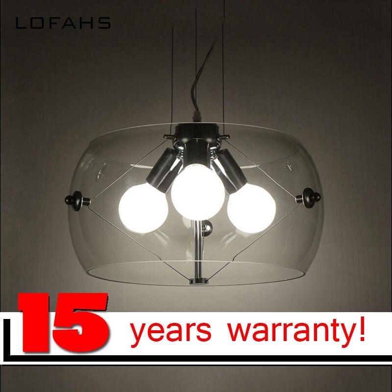 Lofahs 3 лампочки подвесной светильник Прозрачный Chrome стекла Ресторан подвесной светильник модем стиль стеклянный подвесной светильник