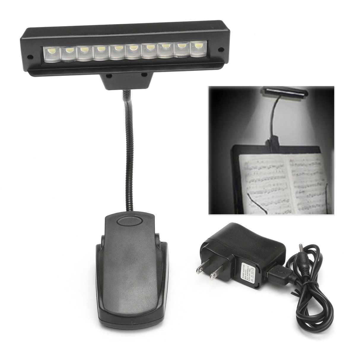 Portable 10 LED Bulbs USB Rechargeable Reading Book Light Flexible Lamps Clip-on Orchestra Piano Music Stand Table Night Lights