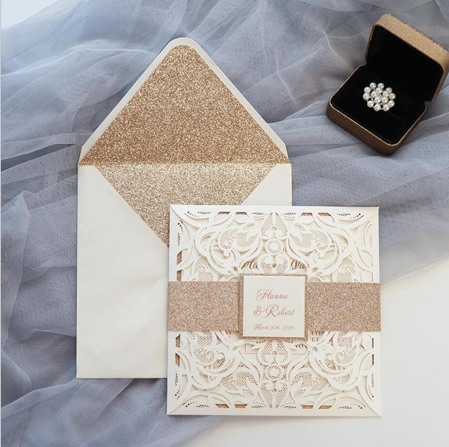 Ivory Wedding Invitations With Glitter Envelope Personalized Laser Cut Engagement Invitation cards 100PCS Express Shipping