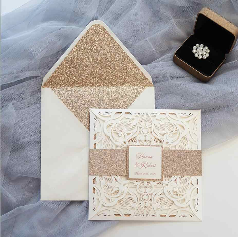 Ivory Wedding Invitations With Glitter Envelope,Personalized Laser Cut Engagement  Invitation cards, 100PCS, Express Shipping