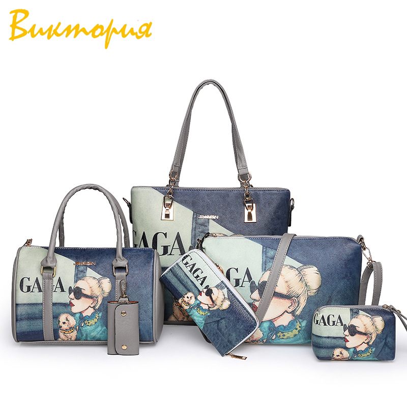 CHARA'S brand women's bag Six piece set women handbag+Shoulder Bags High quality fashion printing Clutch personality purse