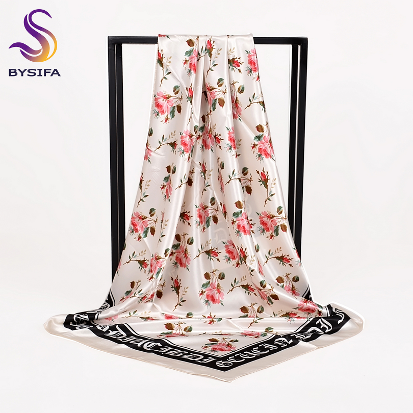 Winter Black White Ladies Silk Scarf Hijab New Chinese Roses Pattern Satin Square Scarves Wraps Spring Autumn Muslim Head Scarf