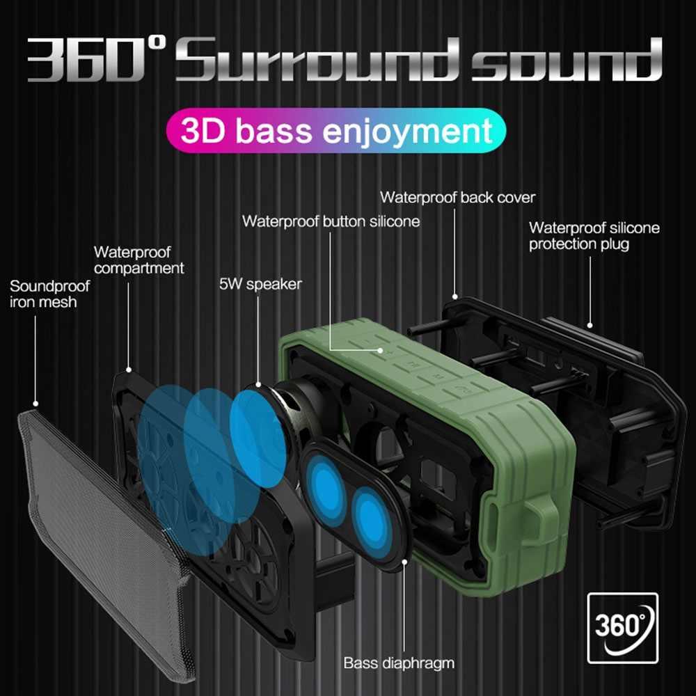 مكبر صوت بخاصية البلوتوث قابل للنقل من FLOVEME مع صوت ستيريو مميز ثلاثي الأبعاد صوت الباس مقاوم للماء والغبار وخالي من السقوط 1200ah نطاق مدمج