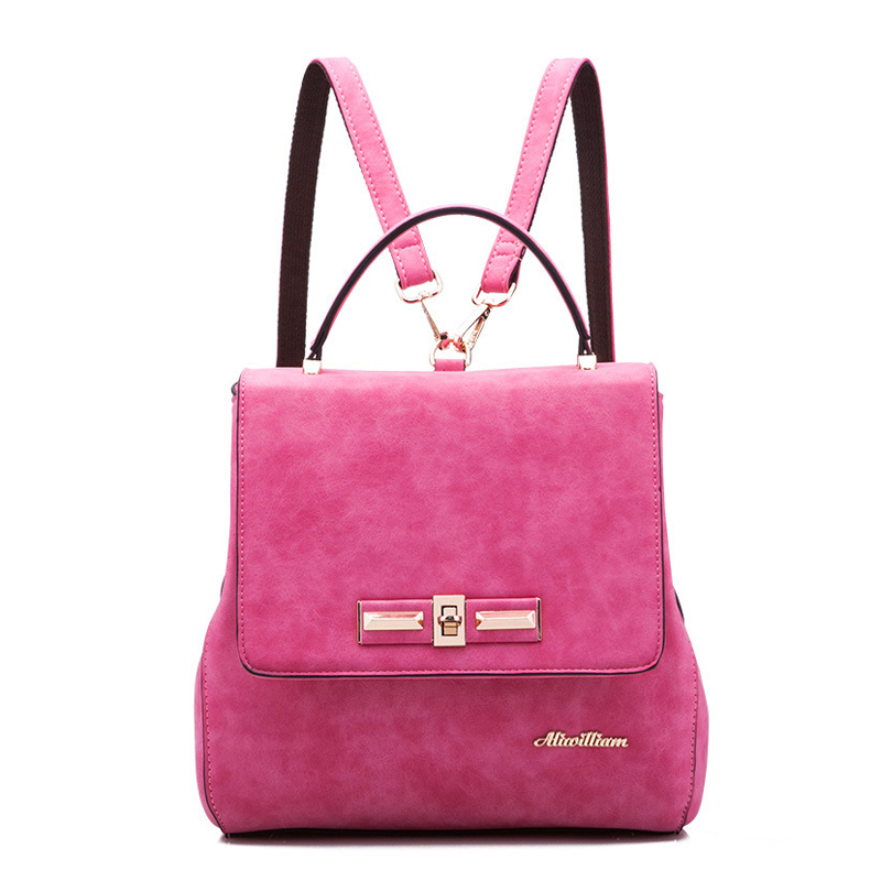 ФОТО Women Designer Scrub Leather Backpacks Brand Vintage Crossbody Bag Ladies Shoulder Tote Bag Girls Teenage Hot Pink Travel Bags