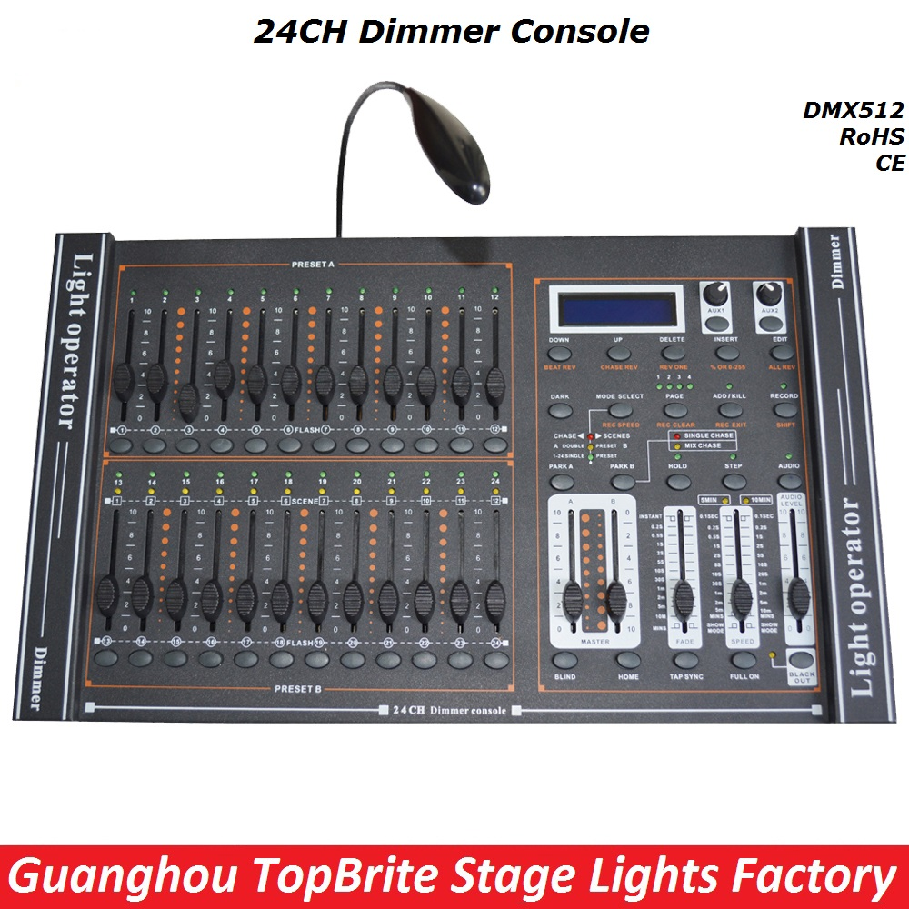 Free Shipping 1XLot 24CHs Dimmer Console 24 Channels DMX512 Controller Professional Led Par DJ Disco Stage Lighting Equipments