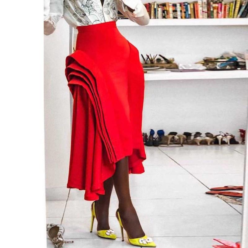 Fashion Layer Ruffled Skirt Women Asymmetrical Pleated Skirt Red High Waist Zipper Summer Classy Party Skirt Faldas