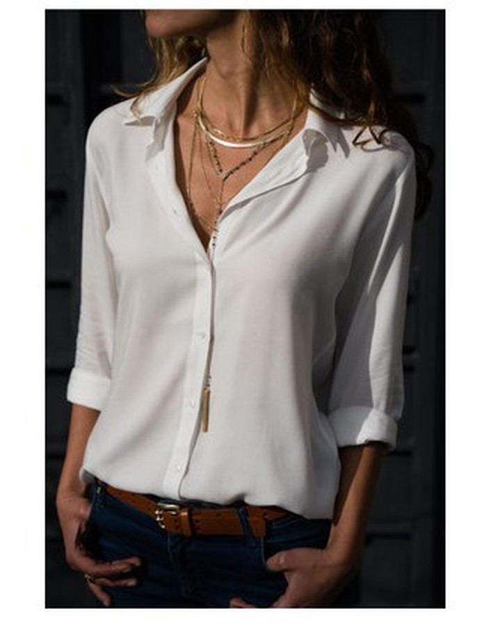 2019 Women Sexy Deep V-Neck Chiffon   Blouse   Solid Long Sleeve   Shirt   Office Lady Plus Size Womens Tops and   Blouses   Fashion Clothes