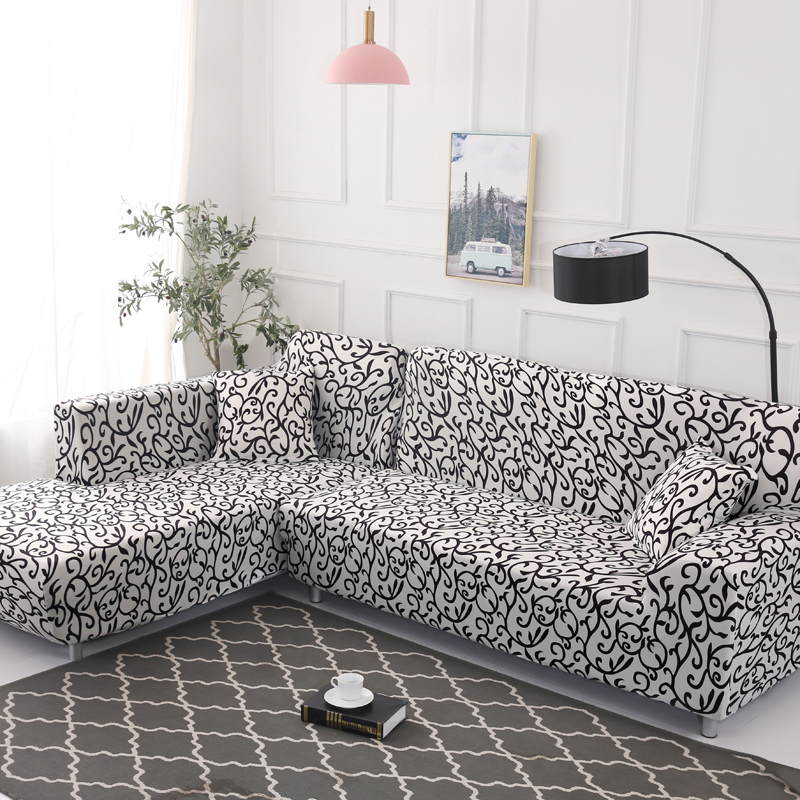 Black and white sofa cover Printed couch cover Polyester