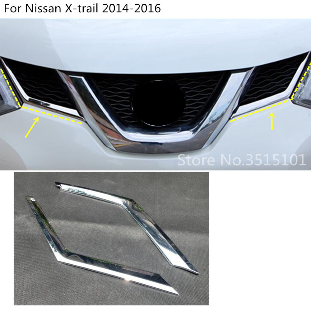 Car Front Grill Grille Cover Trims 2pcs for Nissan Qashqai 2014-2018