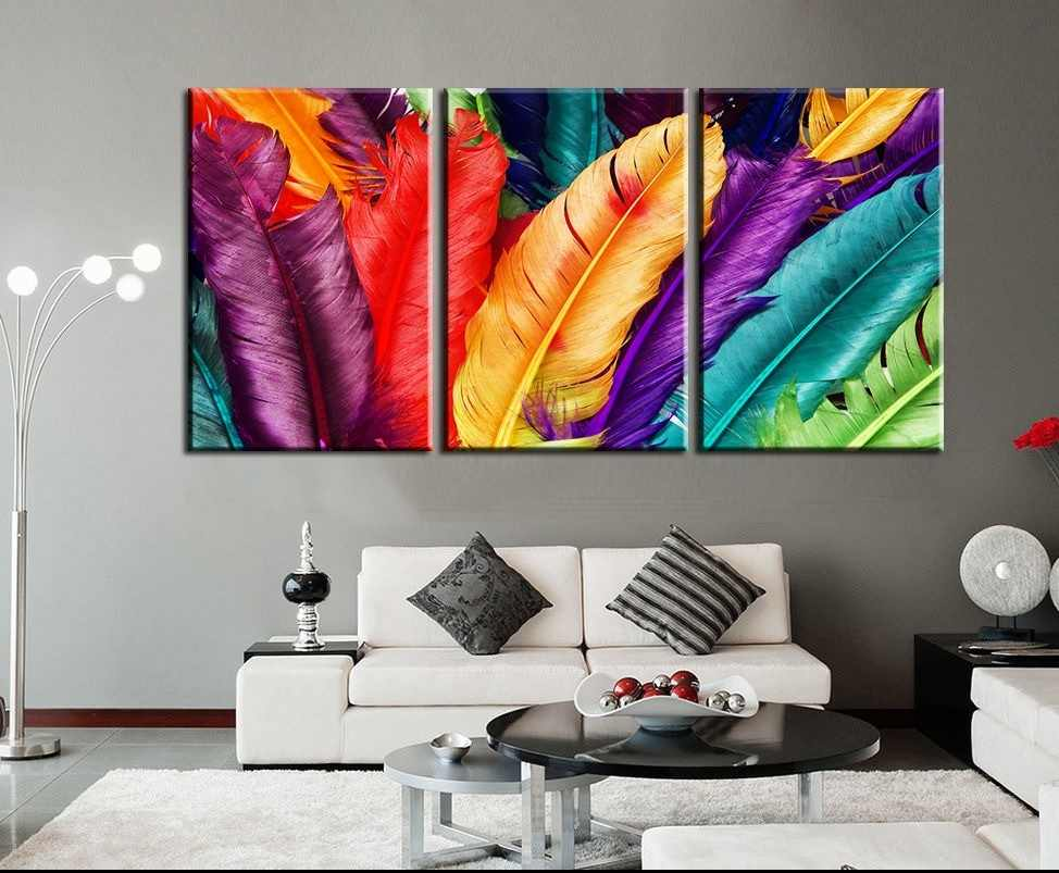 3 Pieces Modern Colorful Feather Wall Painting Landscape Canvas Painting  Home Decor Wall Pictures For Living Room