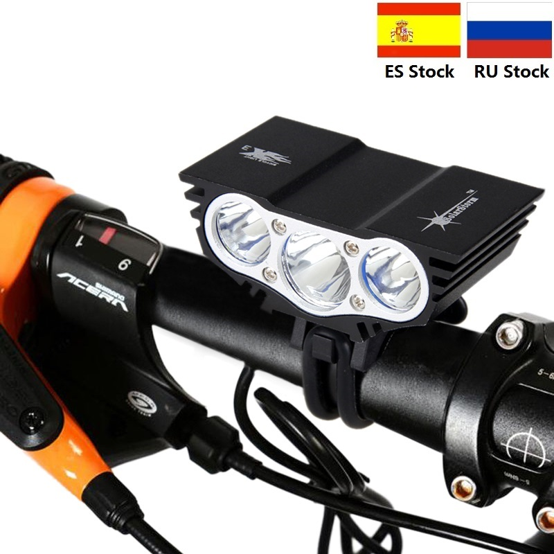 4 mode 1500 <font><b>Lm</b></font> 3 LED lamp beads Front <font><b>Bike</b></font> Bicycle <font><b>Light</b></font> Cycling <font><b>Light</b></font> Lamp Accessories For Bicycle With 6400mAh Battery image
