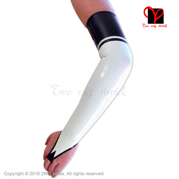 Sexy White and black Latex Long <font><b>Gloves</b></font> Fingerless Rubber Mitten Gummi Opera Gauntlet Women hand wear Hot plus size XXXL