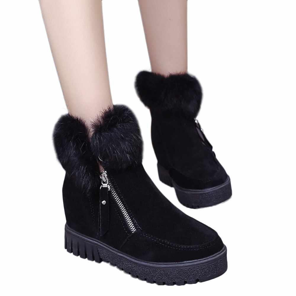 Kadın Fermuar yarım çizmeler Yeni Moda Artı Kadife Yükseltme Çizmeler Kama Platformu Kış sıcak kar ayakkabıları Kadın