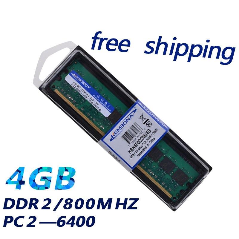KEMBONA DE BUREAU DDR2 4 GB 800 MHZ 667 MHZ PC2-6400 256x8 faible densité compatible pour tous mothebroard Intel et AMD