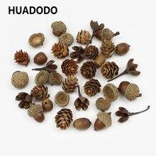 HUADODO 20 Stück Natürliche Getrocknete blumen Kiefer kegel Acorn Künstliche Blume Für Home Weihnachten DIY Girlande Kranz Dekoration
