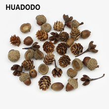 HUADODO 20Pieces Natural Dried flowers Pine cone Acorn Artificial Flower For Home Christmas DIY Garland Wreath Decoration