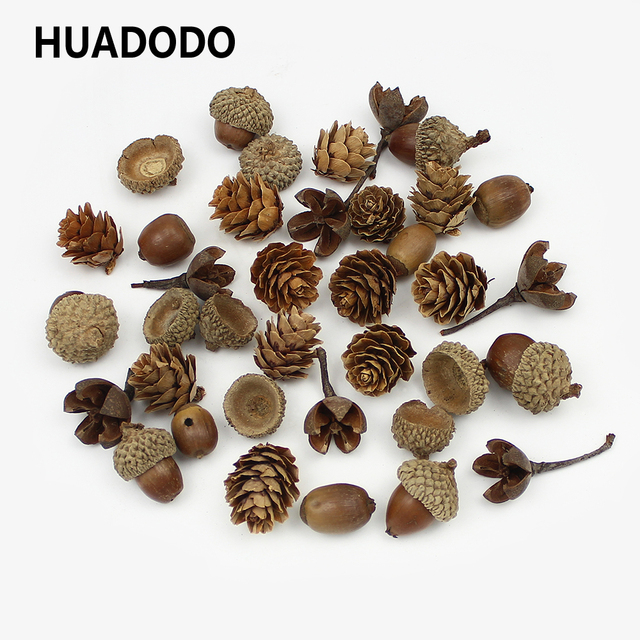HUADODO 20Pieces Natural Dried flowers Pine cone Acorn Artificial Flower For Home Christmas DIY Garland Wreath Decoration