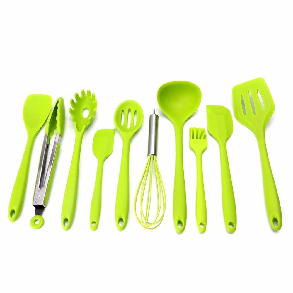 10Pcs Red/Green/Black Heat Resitant Non-stick Silicone Kitchen Utensils Set Cooking Bake Tool Spatula Spoon Brush Wisk Tong C42