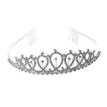 Silver Plated Jewelry Rhinestone Bride Headband Tiara Hair Band + Comb