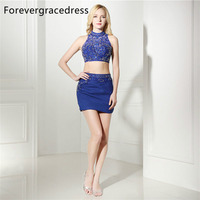 Forevergracedress Real Photos Blue Sheath Cocktail Dress Sexy Beaded Crystals Mini Short Homecoming Party Gown Plus