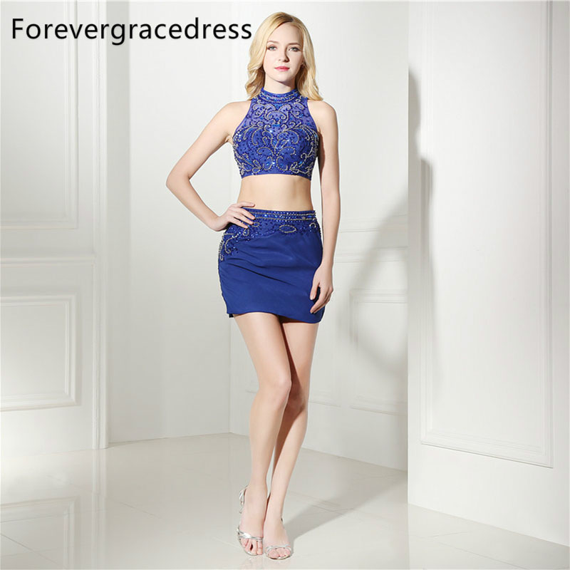 Forevergracedress Real Photos Blue Sheath   Cocktail     Dress   Sexy Beaded Crystals Mini Short Homecoming Party Gown Plus Size
