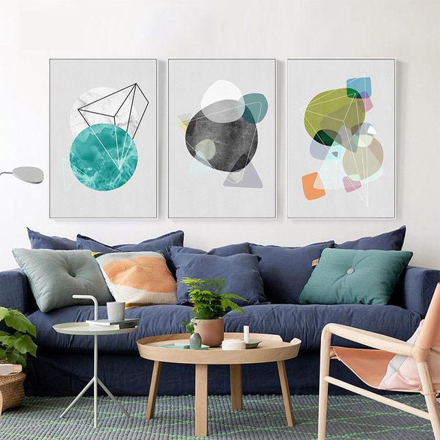 Haochu Geometri Warna Lukisan Cat Air Latar Belakang Desain Modern Kanvas Seni Cetak Gambar Dinding Ruang Tamu Restoran Koridor