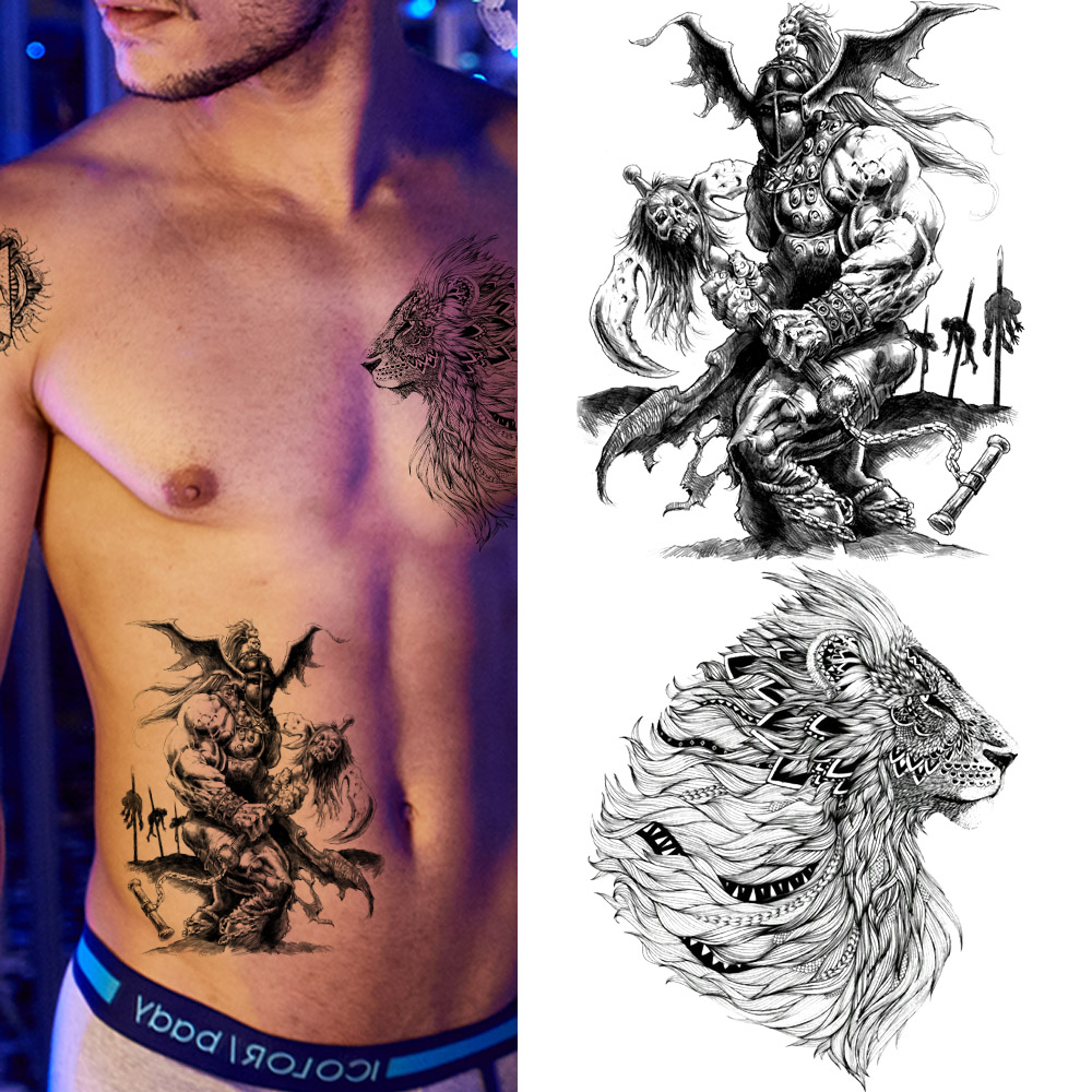 Men Spartan Warrior Cool Tattoo Stickers Body Art Painting Temporary Tattoo Women Black 3D Lion Waterproof Tatoos Boys Xmas Gift