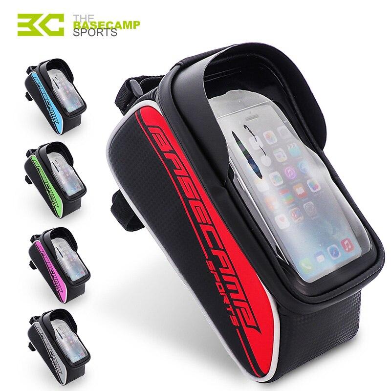 BASECAMP Bike <font><b>Bag</b></font> Rainproof <font><b>Bag</b></font> For Bicycle Front Tube <font><b>Cycling</b></font> <font><b>Bag</b></font> <font><b>Phone</b></font> Case Frame Bicycle <font><b>Bag</b></font> MTB Pannier Bicycle Accessories