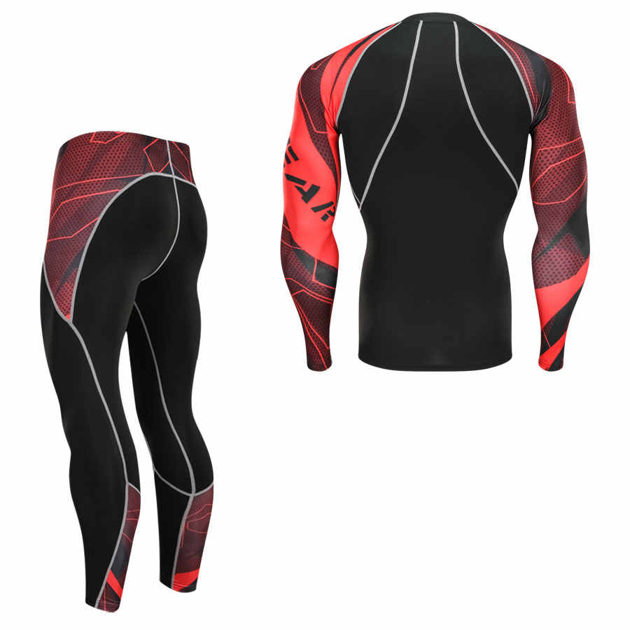 Мужские Молодежные компрессионные комплекты для фитнеса футболка мужская с 3D принтом MMA Crossfit мышечная рубашка Леггинсы плотный нижний слой топы